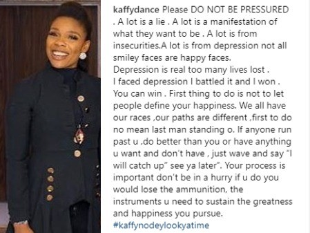 Dance queen, Kaffy, shares profound advice to Nigerians on how to battle and win depression