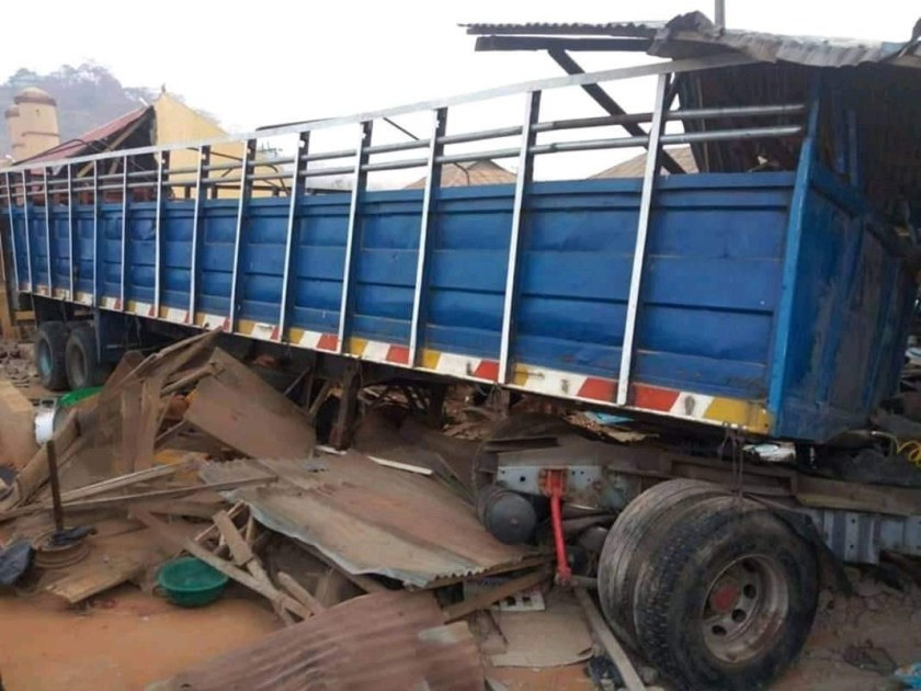 Photos: Truck carrying APC-branded bags of rice crushes dozens to death in Ekiti