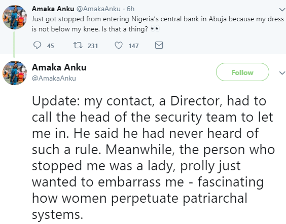 Photo: Lady left in shock after she was reportedly stopped from entering Central Bank of Nigeria