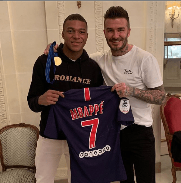 France World Cup winner, Mbapp? pictured with football legend David Beckham (Photos)