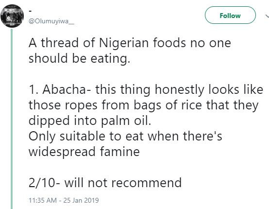 Hilarious?thread of 10 Nigerian foods no one should be eating