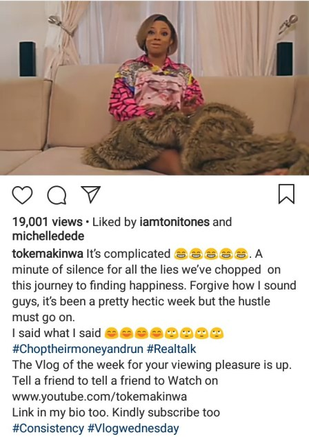 """Chop his money and run away"" Toke Makinwa advises women being wooed by married men"
