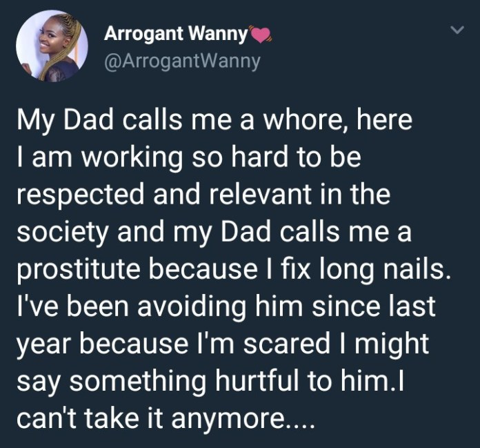 Twitter user says her dad calls her a prostitute because she fixes long nails