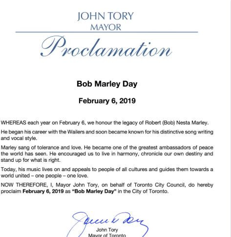 February 6th officially declares as 'Bob Marley' Day by Toronto Govt