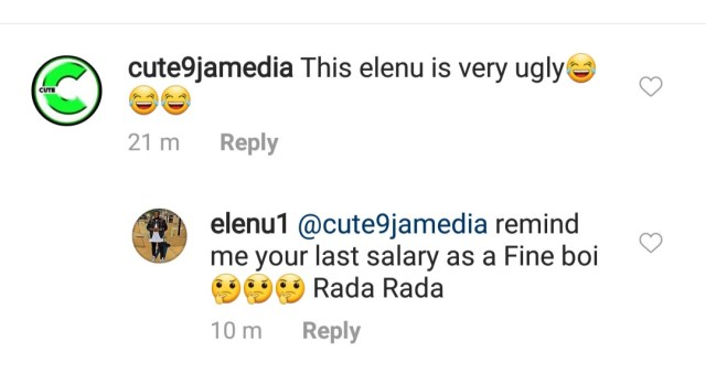 Between comedian Elenu and an IG troll who said he is very Ugly