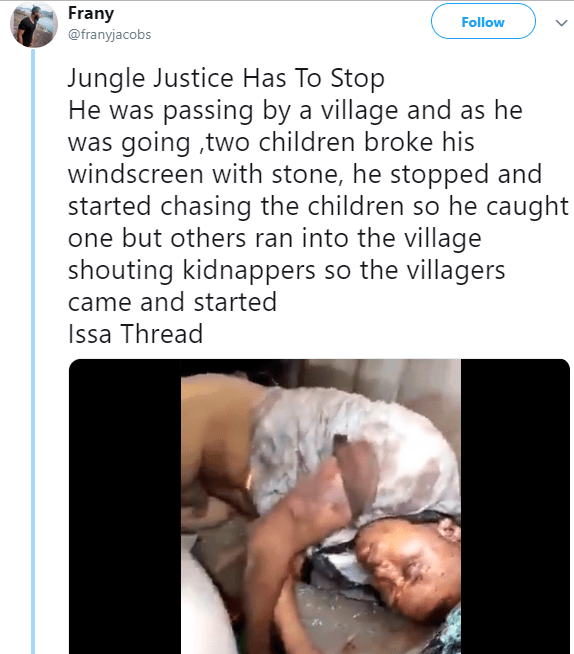 Jungle Justice: Man beaten to death by villagers after kids broke his windscreen then accused him of being a kidnapper as he chased them (photos/video)