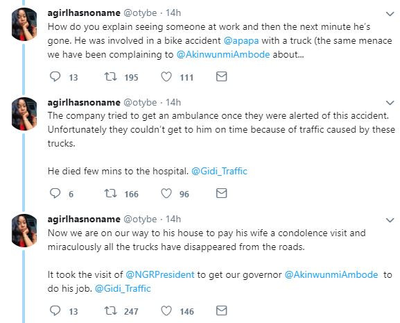 Lady shares touching story of how her colleague died while being rushed to the hospital because of Apapa traffic in?Lagos