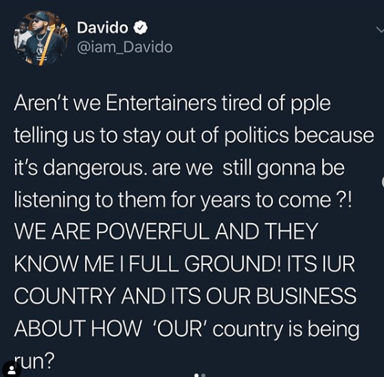"""""""I am confused why anyone will want to vote for Buhari again""""- Davido"""