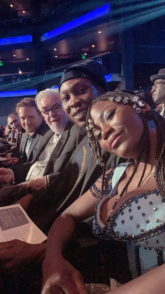 Photos of Seun Kuti and his partner Yeide at the Grammy