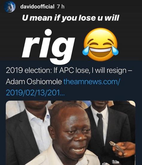Elections: Davido trolls Adams Oshiomole on IG