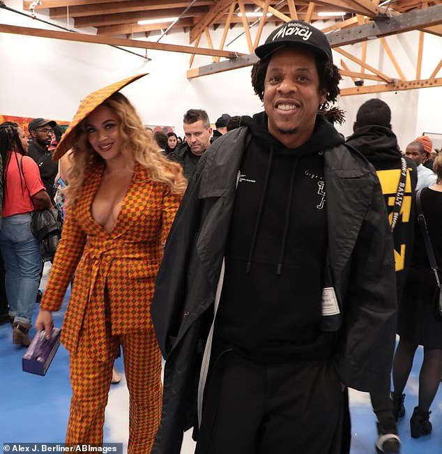 Beyonce rocks stylish ankara suit as she attends exhibition opening with Jay-Z in Beverly Hills(Photos)