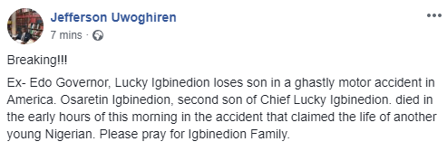 ?Former Edo state governor, Lucky Igbinedion