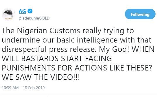 The Nigerian Customs tried to undermine our basic intelligence with that disrespectful press release - Adekunle Gold