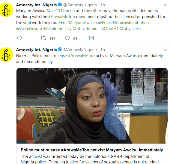 Activist arrested for fighting for justice for sexually abused Arewa women, Amnesty International reveals