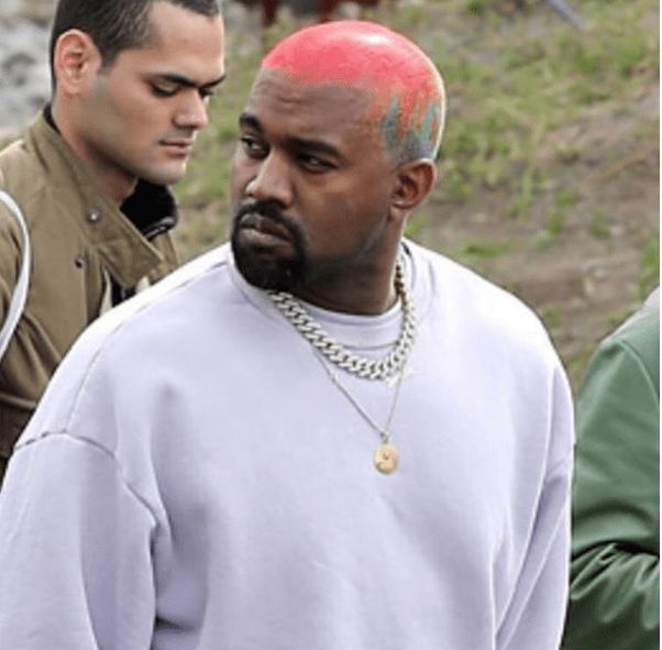 Kanye West shows off his new colorful hairstyle