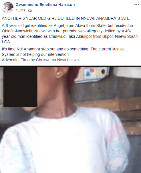 Photo: 6-year-old girl allegedly raped by 40-year-old man in Anambra