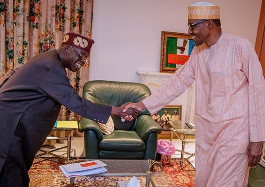 Image result for Bola Tinubu congratulating President Buhari shortly after INEC declared him winner