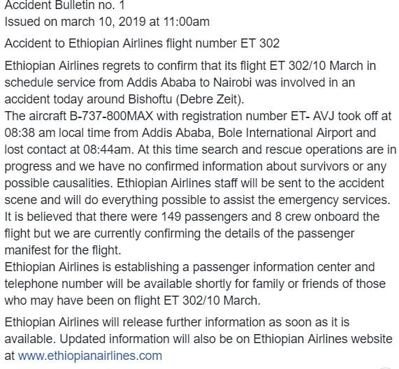 Ethiopian Airliner with 157 people aboard crashes on its way to Kenya