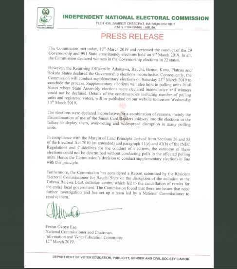 INEC announces March 23rd as date?for supplementary elections in Sokoto, Kano, Bauchi, Plateau, Benue and Adamawa States