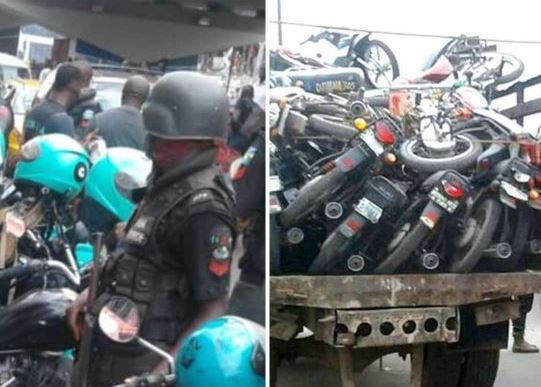 Lagos State Task Force impounds?23 motorbikes, arrest?10 riders and?orders