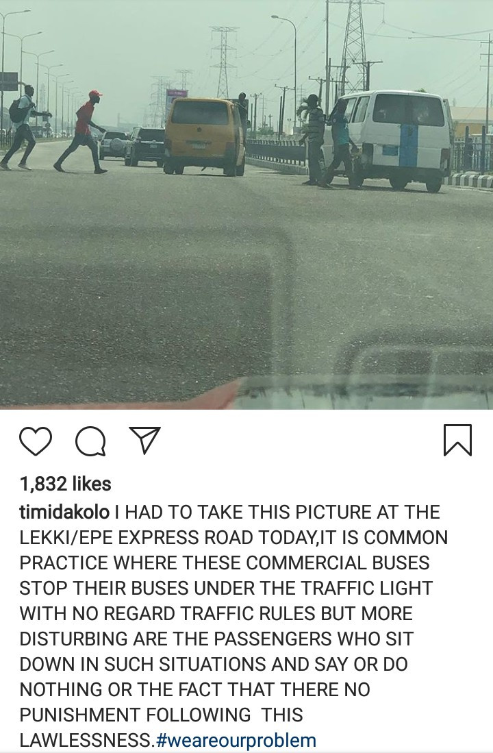 Timi Dakolo responds after a follower called him out for condemning a danfo driver who broke traffic rules