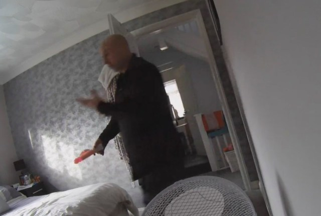 See the moment a plumber working at a home is caught masturbating before using a giant sex toy on himself