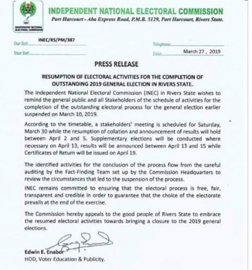 INEC releases timetable for completion of Rivers State election