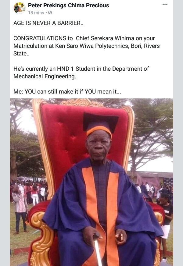 Age is never a barrier! Photo of an elderly man during his matriculation at Ken Saro Wiwa Polytechnic, Rivers State