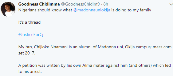 Lady accuses Madonna University authorities of getting her brother arrested over a Facebook post