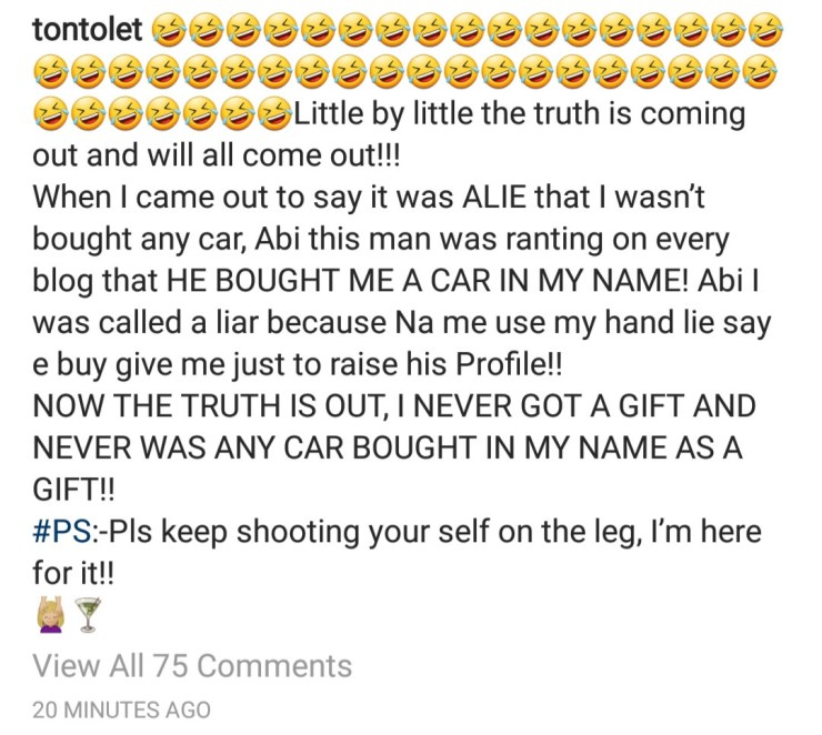 Tonto Dikeh reacts to the allegation she illegally sold her ex-hubby Olakunle Churchill
