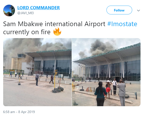 Breaking News: Sam Mbakwe Airport is currently on fire [See Photos