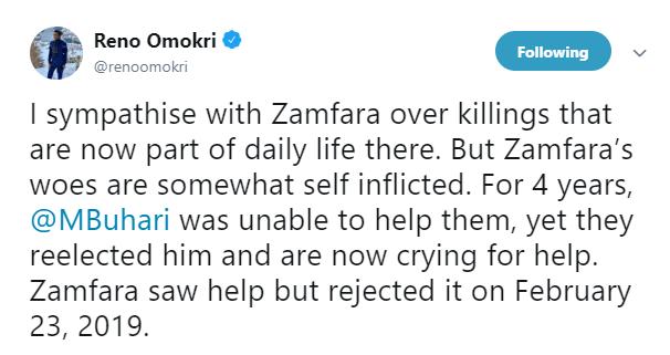 Killings: Zamfara woes are self inflicted, they re-elected Buhari - Reno Omokri