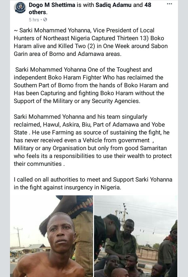 Photos: Acclaimed local hunter allegedly captures 13 Boko Haram terrorists alive, kill two in Borno, Adamawa
