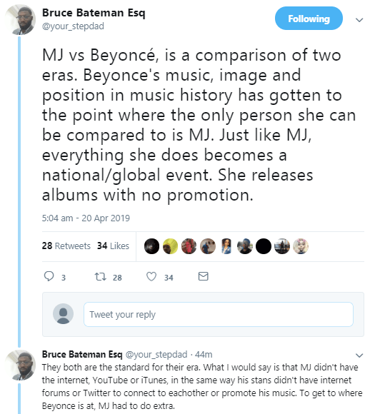 MJ VS Beyonce trends as Nigerians argue about who is a better performer between Michael Jackson and Beyonce (screenshots)