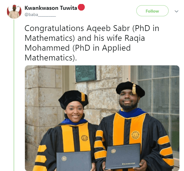 Check out a couple that recently bagged PhD in Mathematics and Applied Mathematics