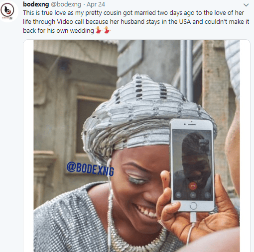 Viral photos of a Nigerian couple that got married via video call