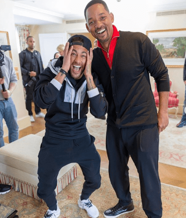 """""""One of the best days of my life"""" footballer Neymar says as he meets Will Smith"""