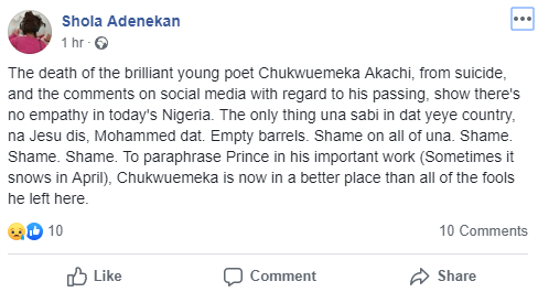 """""""He said his sadness is his muse"""" tributes pour in for UNN final year student who allegedly committed suicide after posting suicide note on Facebook"""