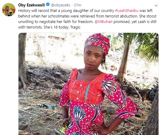 Nigerians take to twitter to wish Leah Sharibu, the only Dapchi school girl in Boko Haram captivity,  a happy 16th birthday