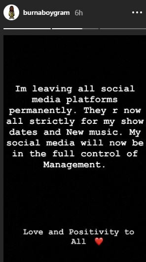 'I'm leaving all social media platforms permanently' - Burna Boy declares