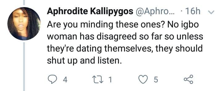 Igbo men angered after Igbo woman tweeted