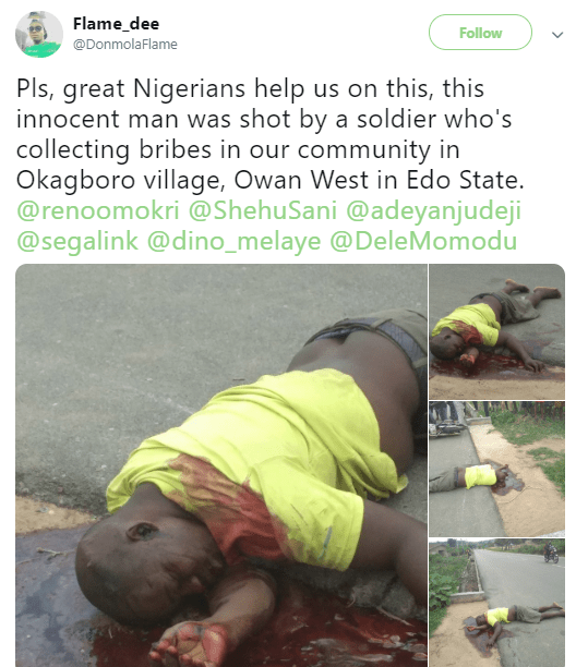 Graphic: Bribe-taking soldiers allegedly shoot man dead in Edo