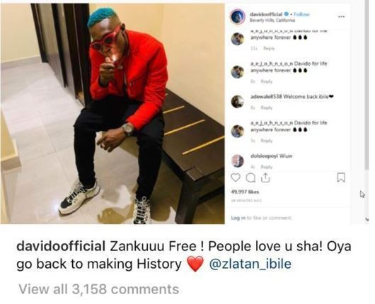 Davido unfollows Zlatan on Instagram, deletes the EFCC welcome back post as well (Screenshots)
