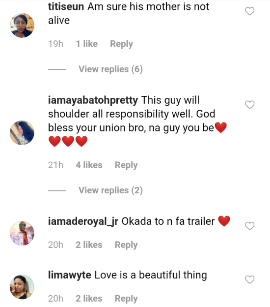 Nigerians react to the love between a groom and his BBW bride on their wedding day