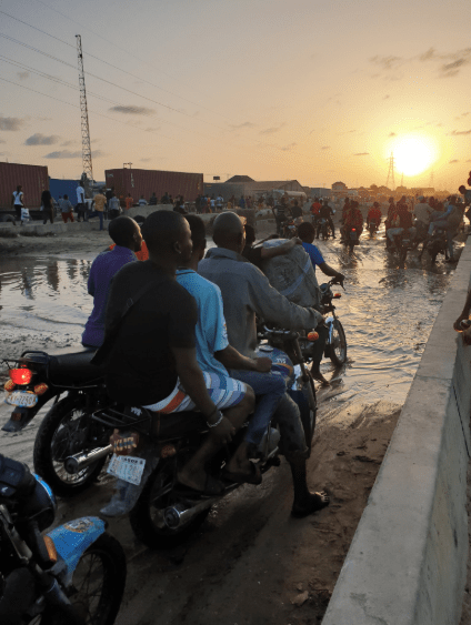 Shocking photos show the horrible state of the road leading to the International Trade Fair Complex in Lagos