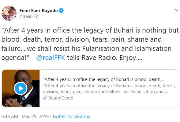 """After 4 years in office the legacy of Buhari is blood, death, terror, division, tears, pain, shame and failure"