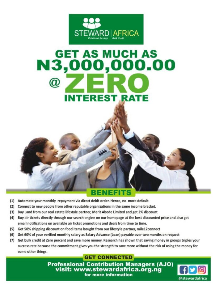 Steward Africa launches monthly contribution (AJO) app for salary earners in Nigeria to connect & help them save more