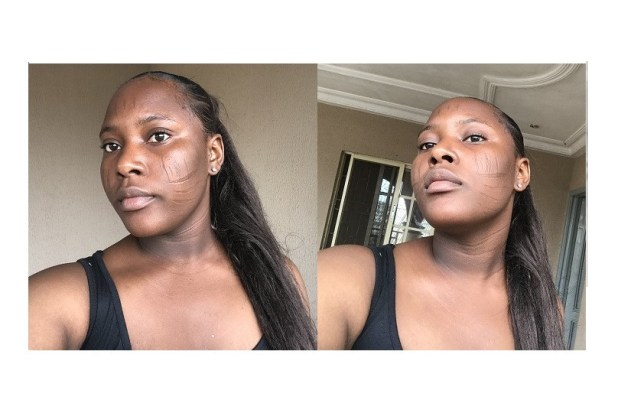 Beautiful Nigerian lady shows her tribal marks (Photos)