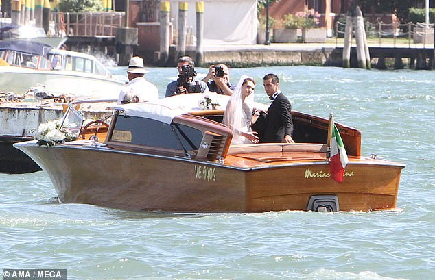 Arsenal football star, Henrikh Mkhitaryan and his bride?board water taxi to their wedding reception in Venice (Photos)