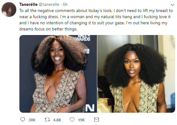 "Singer Taner?lle reacts to negative comments about her ""saggy"" boobs"